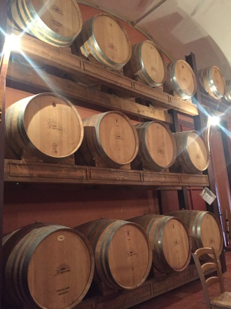 Small wooden wine barrels