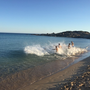 People swimming in October