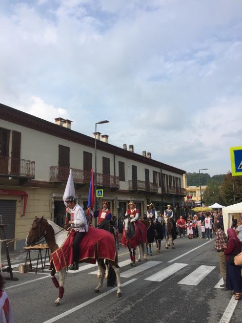 A medieval horse parade